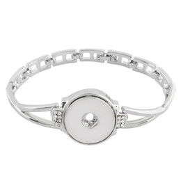 Chinese  2018 New Silver Round Rhinestone Charms Bracelet Snap Bracelet Fit 18mm Snap Button For DIY Snaps Jewelry KC0777 manufacturers