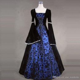 girls medieval dresses 2019 - Halloween Gothic Victorian Cosplay Dresses Medieval Renaissance Floral Print Masquerade Party Ball Gowns For Girl Can be
