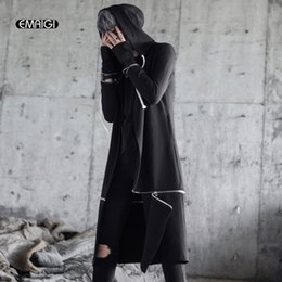 Wholesale punk trench coats resale online - Men High Street Fashion Hip Hop Hooded Trench Coat Punk Style Male Slim Fit Casual Long Cardigan Windbreaker Jacket Cloak Robe