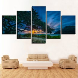 Panels Scenery Canvas Art Prints NZ - HD Prints Pictures 5 Pieces Tree Sunset Scenery Poster Modular Canvas Paintings For Living Room Wall Art Frame Modern Home Decor