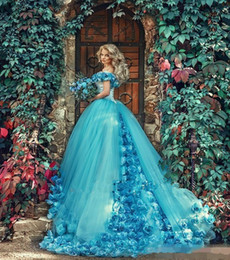 Jade Dresses Australia - 2018 Jade Blue masquerade Ball Gown Quinceanera Dresses with Handmade Flowers Off the shoulder Court Train Tulle Prom sweet 16 Dress