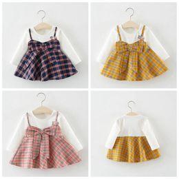 2a25c0cf7435 Girls Dresses Autumn Plaid Baby Dresses Toddler Long Sleeve Princess Dress  Cotton Korean Style Bow Skirts Kids Designer Clothes YL727
