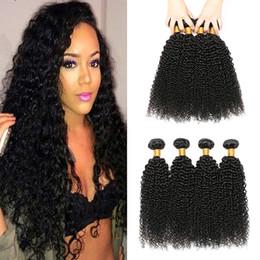 Discount black hair perm curly - Brazilian Curly Virgin Hair Wefts 4 Bundles Natural Black Brazilian Kinky Curly Hair Weaves Brazilian Deep Curly Virgin