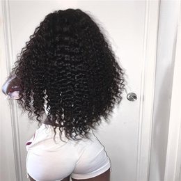 Full Lace Hair Cheap Australia - Cheap 130% Density Long Kinky Curly Full Lace Wig Virgin Mongolian Lace Front Wig Kinky Curly Human Hair Wigs For Black Women