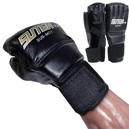 Half Finger Boxing Glove UK - New Leather Half Finger Fight Mma Boxing Gloves Mitts Sanda Karate Sandbag Taekwondo Protector Mma Muay Thai Kick Boxing Gloves Gear