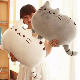 Big Toys White NZ - 40*30cm Kawaii Cat Pillow with Zipper PP Cotton Biscuits Kids Toys Animal Doll Big Peluche Cushion Gift AIJILE