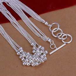 fine chains wholesale Australia - Luxury 925 Sterling Silver Necklace,Fine Charm 925 Silver 18inch Men Bead Chain Link Italy Fashion Necklace Jewelry New 1Pcs Hot Nice AN02