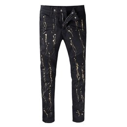 DistresseD cotton online shopping - Balmain New Hot Fashion Graffiti zippers skinny slim fit mens Distressed black cotton Denim jeans men jeans
