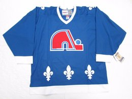Cheap custom QUEBEC NORDIQUES AWAY BLUE VINTAGE CCM HOCKEY JERSEY stitch  add any number any name Mens Hockey Jersey XS-5XL 371292806