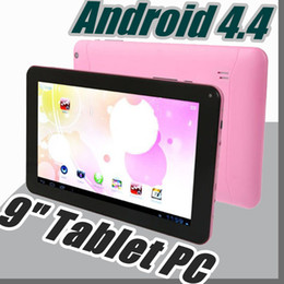 wholesale quad core android tablets Australia - 2019 cheap 9 inch Dual camera Quad Core Android 4.4 Tablet PC 512MB 8GB 1.5GHz Allwinner A33 A-9PB