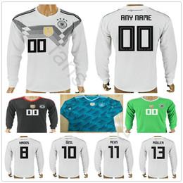 4d02af722cd 2018 Germany Long Sleeve Soccer Jerseys Muller Gotze Reus Kroos Draxler  Neuer OZIL BOATENG Customize Home Away White Green Football Shirt