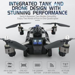 Discount rc cars Wifi FPV APP Control Foldable RC Tank Drone Hybrid Aircraft Robot Toys for Child with HD Camera Car Air Ground Mode Quadcopters