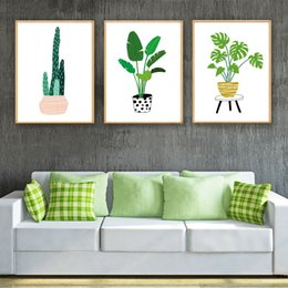 Art Canvas Prints Australia - Nordic Simple Style Hd Art Print Wall Cartoon Cactus Monstera Tropical Plants Poster Child Gift Room Decoration Canvas Painting