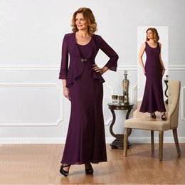 $enCountryForm.capitalKeyWord NZ - 2018 Grape Elegant Mother of the Bride Suits Dresses Long Sleeves Two Pieces Jacket Ankle Length Wedding Party Evening Gowns