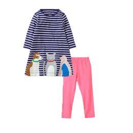 ChoColate Colour dresses online shopping - Baby Kids Girls Set Clothing PDF Sewing Pattern Striped Long Dress T Shirt Long Pants Legging Tights
