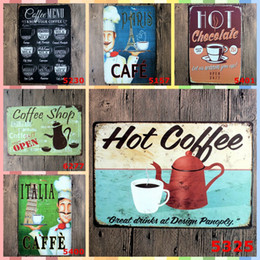 Vintage Painting Signed Australia - HOT COFFEE Tin Signs 20*30cm Posters Vintage Home Decor Tin Signs Graphic Tablet Art Wall Paint Crafts Supplies