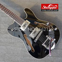 Guitar Custom Shop Black NZ - Free shipping factory Custom Top quality F hole Tele JAZZ Hollow body Guitars TL black color Electric Guitar musical instrument shop