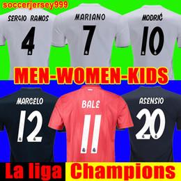 Women football uniform online shopping - Real madrid Jerseys Champions MARIANO ISCO soccer jersey RAMOS MODRIC BALE football shirt camisetas uniforms Men women kids