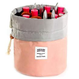 China Barrel Shaped Travel Cosmetic Bag Nylon High Capacity Drawstring Make Up Bags Makeup Case Necessaries Organizer Storage Wash Bag supplier style cosmetics suppliers