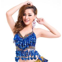 Discount bell costume women - Sexy Handmade Belly Dance Bra Tops Crystal Sequins Beads Bells Peppers Costume