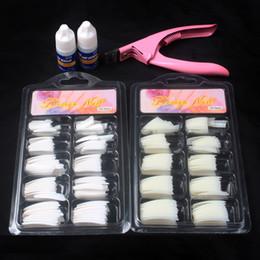 China 100 Pcs Natural White False Acrylic Nail Kit French Tips & Nail Art Glue Cutter Tools Kits Set To Build Gel Nails supplier kit acrylic glue suppliers