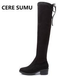 China 2018 Winter Suede Leather Thigh Booties 4.5cm Square Heels Shoes for Woman Over The Knee High Boots Women Ladies Overknee Boots cheap booties heels for women suppliers