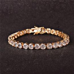 b109c767238a Hot SaleTennis pulsera Hip Hop joyería hombres   mujeres AAA Cubic Zircon  pulsera 3 mm 4 mm acabado 1 fila de oro enlace para regalo