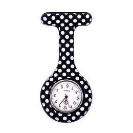 $enCountryForm.capitalKeyWord UK - Black White Dot pattern Silicone Nurses Brooch Tunic Fob Pocket Watch Stainless Dial