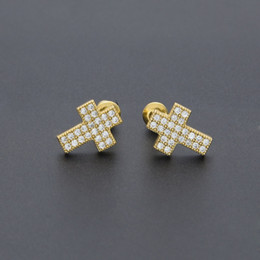 $enCountryForm.capitalKeyWord Australia - Cross Stud Earrings Mens Hip Hop Bling Bling Iced Out Micro Pave Cubic Zircon CZ Crucifix Earrings for Women Punk Jewelry Christmas Gift