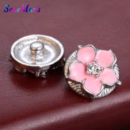Oil Painting Jewelry Australia - New Snap Jewelry Rhinestone Oil Painting 18mm Rhinestone Flower Snap Buttons Fit DIY Button Bracelet Bangle Buttons Jewelry