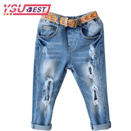 $enCountryForm.capitalKeyWord Canada - 2018 Girls Jeans Elastic Waist Children Denim Pants + Belt 2Pcs Kids Boys Jeans Casual Ripped Leggings For Girls Child Clothes