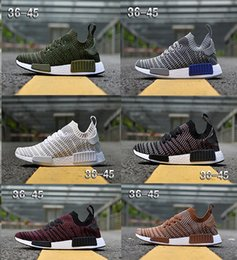 Discount army duck fabric 2018 NMD R1 STLT Primeknit Porter Duck Camo Army Zebra Triple Black Mens Women Running Shoes Sport Nmds Runner Primeknit Designer Trainers