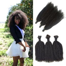 Brazilian afro Braid online shopping - Hot Sale Bundles Human Hair Bulk Unprocessed Afro Kinky Curly Bulk For Braiding No Weft Brazilian Human Hair G EASY