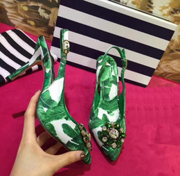 Buckle Backs Canada - Pointed toes Women's Sandals High heeled Printed Green Dress shoes Rhinestone Patchwork stiletto buckle Female Pumps Back Strap freeshipping