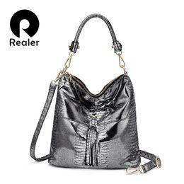 Multi Color Ladies Handbags Australia - REALER shoulder bag female luxury handbags women bag designer hobo animal prints crossbody bags artificial leather ladies Tassel Y18102404