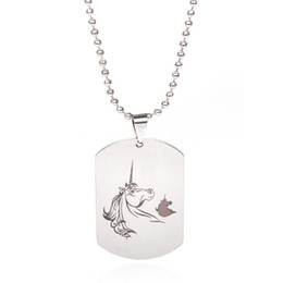 Horse tags online shopping - Stainless Steel Necklaces Horse Pendant Beads Chain Necklace Women Men Jewelry Tag Necklace