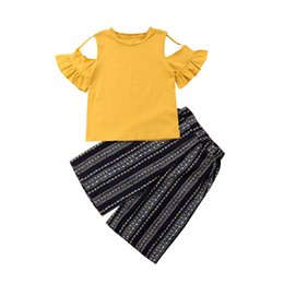 e40a65b229d Kids Summer Princess Clothes Cute Baby Girl Off-shoulder Yellow Tops T-shirt+Striped  Printed Wide Leg Pants Outfits Children Set