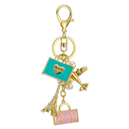 Wholesale New Golden Travel Keychain with Plane Eiffel Tower Camera Charms For Women Key Chains Handbag Holder Friendship Jewelry