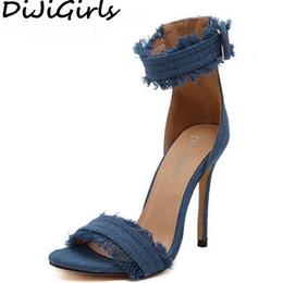 32be15367af9b DiJiGirls Women Desinger Denim Canvas Sandals Stiletto High Heel Shoes  Woman Ankle Strap Open Toe concise Simple Sandals Pumps