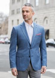 2018 Dernier manteau Pant Designs hommes de lin bleu conviennent à la rue  smart business jacket hommes costumes pour mariage 2 pièces (veste +  pantalon) 0f720367d96
