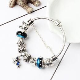 $enCountryForm.capitalKeyWord NZ - Fashion Alloy Beads DIY Bracelet for Pandora Style 3MM Snake Chain Jewelry