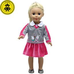 8c93e2219537 Doll Accessories American Girl Doll Clothes Rabbit Purple School Uniform  Dress for 16-18 inch Dolls boneca american girl MG-293