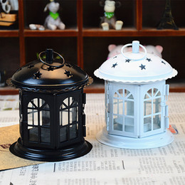 candle holder house decoration NZ - Metal Lantern Iron Candle Holder House Decoration Iron Art Craft Lanterns For Candles Candle Lantern For Wedding Gift