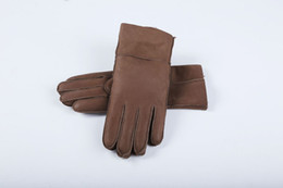 white leather mittens UK - Free Shipping - Classic quality bright leather ladies leather gloves Women's wool gloves 100% guaranteed quality