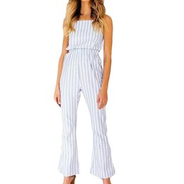 Overalls Jumpsuits For Women NZ - Overalls For Women Summer Tops For Women 2018 Loose Sleeveless Wide leg Striped Jumpsuit Ropa Verano Mujerr
