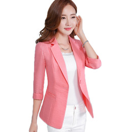$enCountryForm.capitalKeyWord Canada - 4XL 5XL Summer Women's Jackets And Coats Linen Thin Suit Jacket Female Blazers Slim OL Jacket Women Button Ladies Blazer Plus
