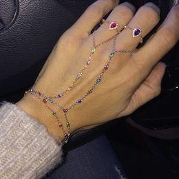 06d76a49a82a 2018 pulsera esclava de mujeres con anillo de oro rosa plateado colorido  bisel cz eslabones de cadena joyería de la mano pulseras de moda de arco  iris ...