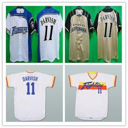 nippon 2019 - Custom 11 Yu Darvish Hokkaido Nippon-Ham Fighters Jerseys Baseball Yellow White Alternate Stitched Any Name Number Shirt
