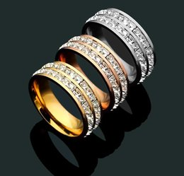 Wedding Ring Gold 18k Diamond Australia - New Arrival Fashion Lady 316L Titanium steel Two Circles Square Diamond Wedding Engagement 18K Gold Plated Wide Rings 3 Color Size5-9