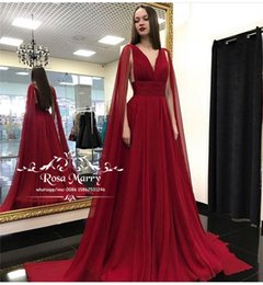 Party Queen Make Up Australia - Sexy Red V Neck Cheap Evening Dresses 2018 A Line Plus Size Arabic Abendkleider Caped Queen Formal Dresses Evening Prom Party Gowns